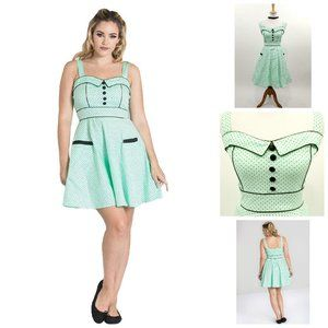 Hell Bunny Vanity Dotted Dress in Mint Green